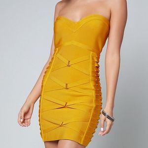 Bebe Strapless Bandage Dress Mustard Yellow